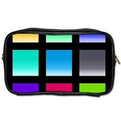 Colorful Background Squares Toiletries Bags 2 Side by Simbadda