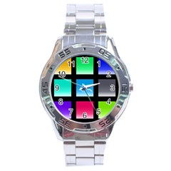 Colorful Background Squares Stainless Steel Analogue Watch by Simbadda