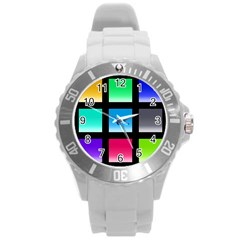 Colorful Background Squares Round Plastic Sport Watch (l) by Simbadda