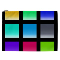 Colorful Background Squares Cosmetic Bag (xxl)  by Simbadda