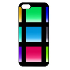 Colorful Background Squares Apple Iphone 5 Seamless Case (black) by Simbadda