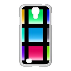 Colorful Background Squares Samsung Galaxy S4 I9500/ I9505 Case (white) by Simbadda