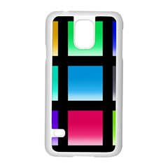 Colorful Background Squares Samsung Galaxy S5 Case (white) by Simbadda