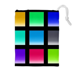 Colorful Background Squares Drawstring Pouches (extra Large) by Simbadda