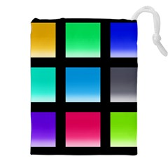 Colorful Background Squares Drawstring Pouches (xxl) by Simbadda