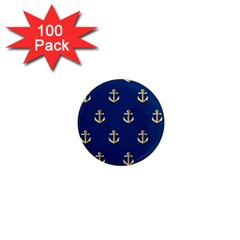 Gold Anchors On Blue Background Pattern 1  Mini Magnets (100 Pack)  by Simbadda