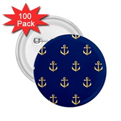 Gold Anchors On Blue Background Pattern 2 25  Buttons (100 Pack)  by Simbadda