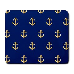 Gold Anchors On Blue Background Pattern Large Mousepads by Simbadda