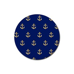 Gold Anchors On Blue Background Pattern Rubber Coaster (round)  by Simbadda