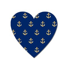 Gold Anchors On Blue Background Pattern Heart Magnet by Simbadda