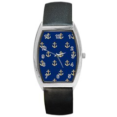 Gold Anchors On Blue Background Pattern Barrel Style Metal Watch by Simbadda