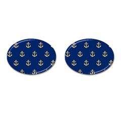 Gold Anchors On Blue Background Pattern Cufflinks (oval) by Simbadda