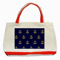 Gold Anchors On Blue Background Pattern Classic Tote Bag (red) by Simbadda