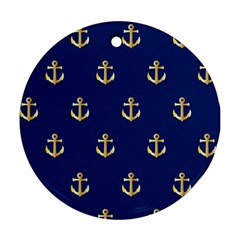 Gold Anchors On Blue Background Pattern Round Ornament (two Sides) by Simbadda