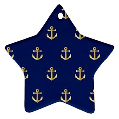 Gold Anchors On Blue Background Pattern Star Ornament (two Sides) by Simbadda
