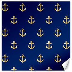 Gold Anchors On Blue Background Pattern Canvas 20  X 20   by Simbadda