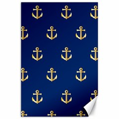 Gold Anchors On Blue Background Pattern Canvas 24  X 36  by Simbadda