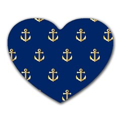 Gold Anchors On Blue Background Pattern Heart Mousepads by Simbadda