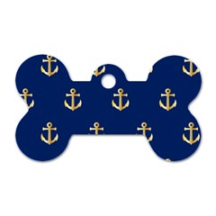 Gold Anchors On Blue Background Pattern Dog Tag Bone (two Sides) by Simbadda