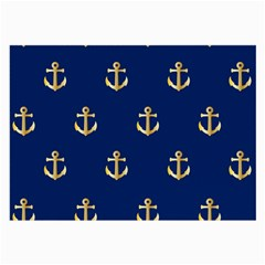 Gold Anchors On Blue Background Pattern Large Glasses Cloth (2 Side) by Simbadda