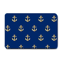 Gold Anchors On Blue Background Pattern Small Doormat  by Simbadda