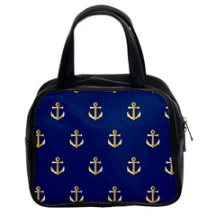Gold Anchors On Blue Background Pattern Classic Handbags (2 Sides) by Simbadda