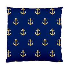 Gold Anchors On Blue Background Pattern Standard Cushion Case (two Sides) by Simbadda