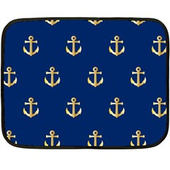 Gold Anchors On Blue Background Pattern Double Sided Fleece Blanket (mini)  by Simbadda