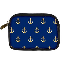 Gold Anchors On Blue Background Pattern Digital Camera Cases by Simbadda