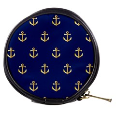 Gold Anchors On Blue Background Pattern Mini Makeup Bags by Simbadda