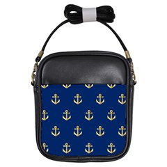 Gold Anchors On Blue Background Pattern Girls Sling Bags by Simbadda