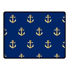 Gold Anchors On Blue Background Pattern Fleece Blanket (small) by Simbadda
