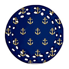 Gold Anchors On Blue Background Pattern Round Filigree Ornament (two Sides) by Simbadda