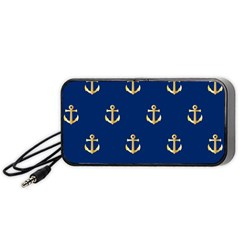 Gold Anchors On Blue Background Pattern Portable Speaker (black) by Simbadda