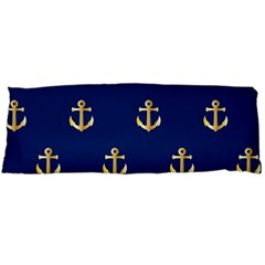 Gold Anchors On Blue Background Pattern Body Pillow Case Dakimakura (two Sides) by Simbadda