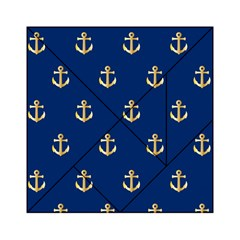 Gold Anchors On Blue Background Pattern Acrylic Tangram Puzzle (6  X 6 ) by Simbadda