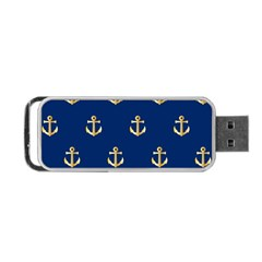 Gold Anchors On Blue Background Pattern Portable Usb Flash (two Sides) by Simbadda