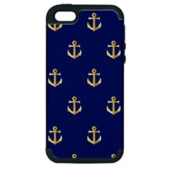 Gold Anchors On Blue Background Pattern Apple Iphone 5 Hardshell Case (pc+silicone) by Simbadda