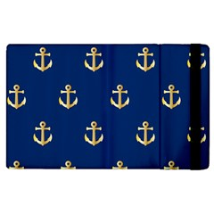 Gold Anchors On Blue Background Pattern Apple Ipad 3/4 Flip Case by Simbadda