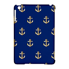 Gold Anchors On Blue Background Pattern Apple Ipad Mini Hardshell Case (compatible With Smart Cover) by Simbadda