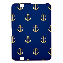 Gold Anchors On Blue Background Pattern Kindle Fire Hd 8 9  by Simbadda