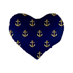 Gold Anchors On Blue Background Pattern Standard 16  Premium Heart Shape Cushions by Simbadda