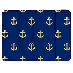 Gold Anchors On Blue Background Pattern Samsung Galaxy Tab 7  P1000 Flip Case by Simbadda