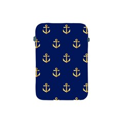 Gold Anchors On Blue Background Pattern Apple Ipad Mini Protective Soft Cases by Simbadda