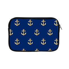 Gold Anchors On Blue Background Pattern Apple Ipad Mini Zipper Cases by Simbadda