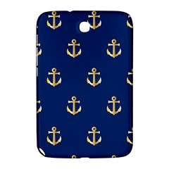 Gold Anchors On Blue Background Pattern Samsung Galaxy Note 8 0 N5100 Hardshell Case  by Simbadda