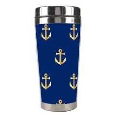 Gold Anchors On Blue Background Pattern Stainless Steel Travel Tumblers by Simbadda