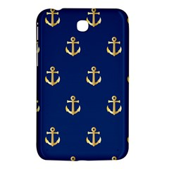 Gold Anchors On Blue Background Pattern Samsung Galaxy Tab 3 (7 ) P3200 Hardshell Case