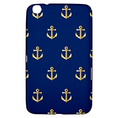Gold Anchors On Blue Background Pattern Samsung Galaxy Tab 3 (8 ) T3100 Hardshell Case  by Simbadda