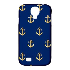 Gold Anchors On Blue Background Pattern Samsung Galaxy S4 Classic Hardshell Case (pc+silicone) by Simbadda